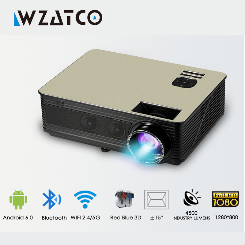 лучшая цена WZATCO Support 1080p 5500lumens HD Projector Android 7.1 WiFi Bluetooth Home Theater LED Video Game Projector Beamer Proyector