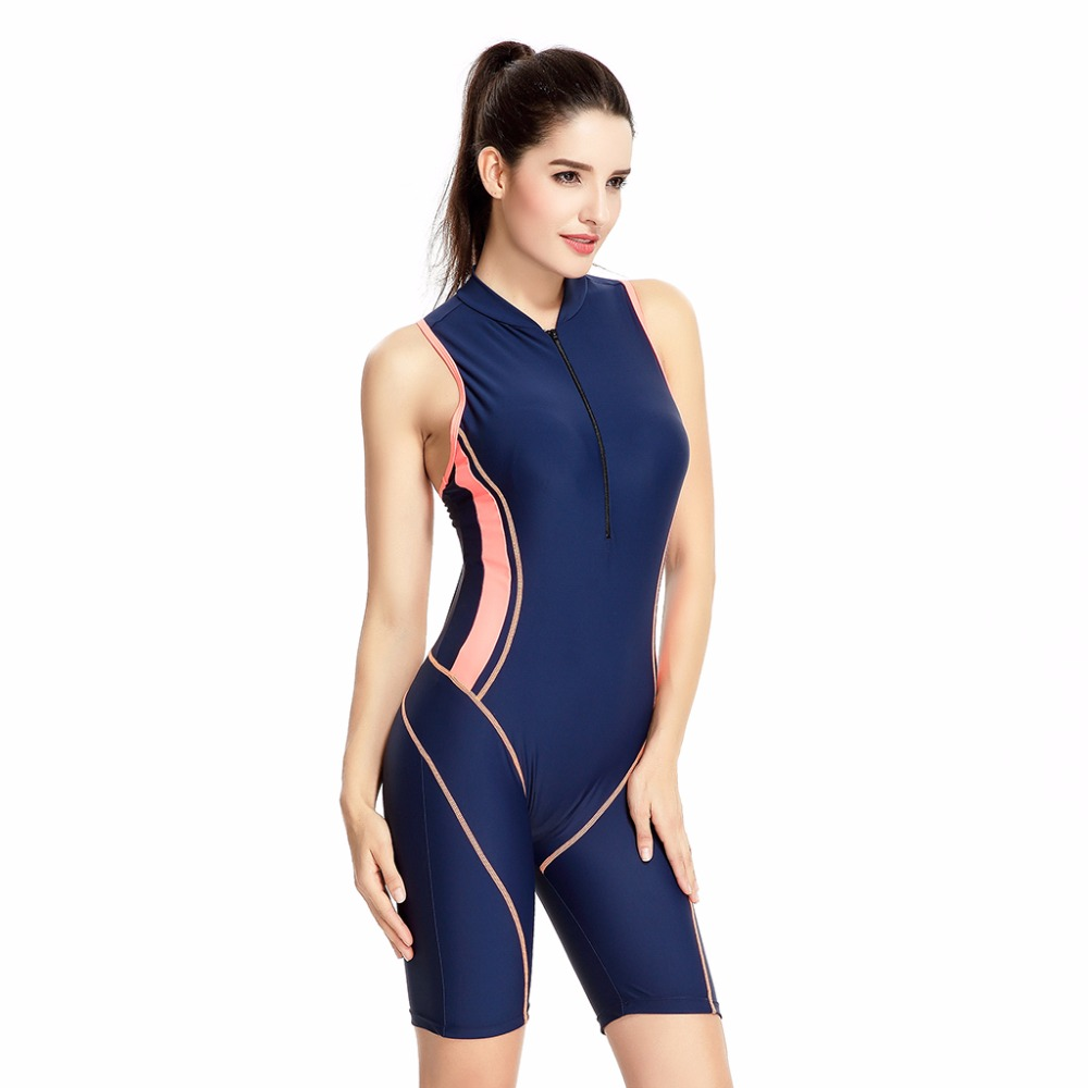 Professional Women's Full Body Swimsuit Zipper Front