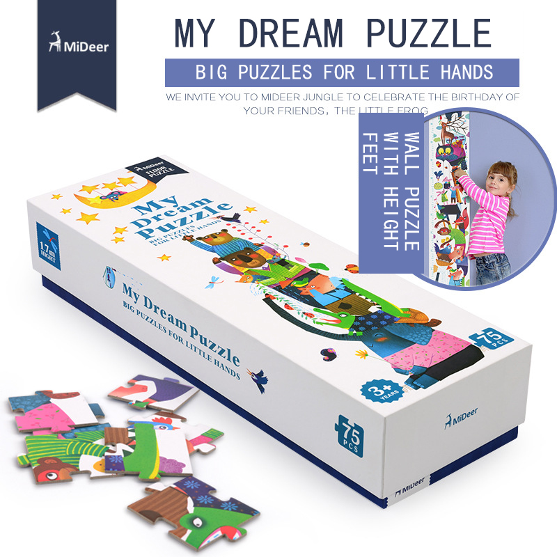 Mideer 75pcs 170x21.5cm Super Long Theme Floor Puzzle Paper Puzzles for kids My Dream Puzzle Education Toys for Children