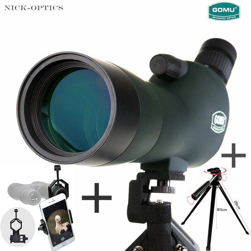 High quality Gomu 20-60x60 Monocular Waterproof Telescope Fieldscope Spotting Scope with Eyepiece + Tripod + Smartphone Adapter цена