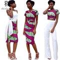 African Clothing 2016 summer dashiki sexy Women Sets top+skirt short sleeve dresses for women Ankara kitenge wax batik printing