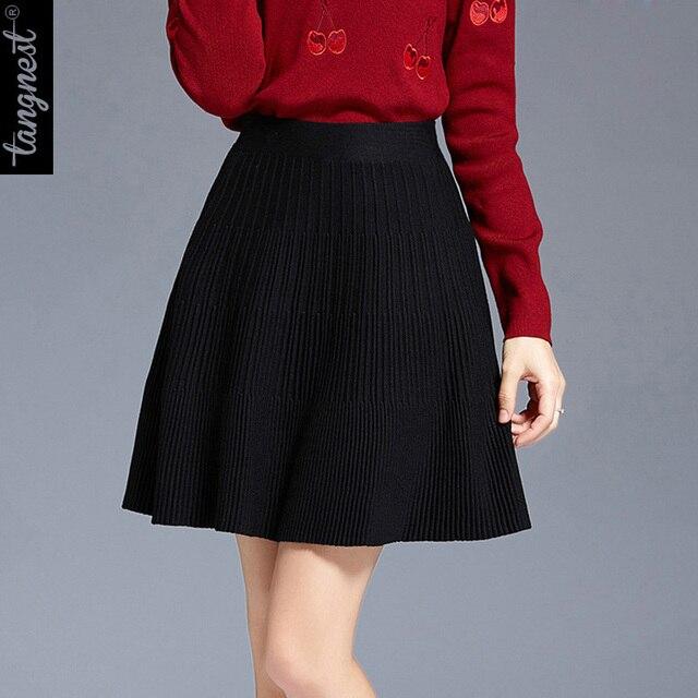 TANGNEST Women Knitted Skirt 2017 Fashion Autumn Skirts A-Line High Waist Mini WQB889