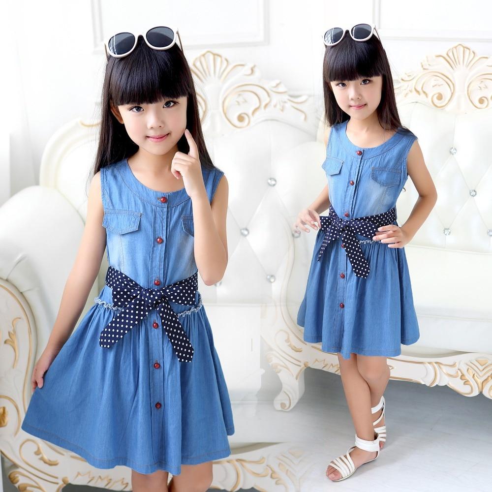 Vest Dress for Girl Sleeveless Dresses Summer Children Clothing Blue Cotton Infant Vestido Casual Sundress 4 8 10 12 Denim Dress