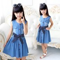 Vest Dress for Girl Sleeveless Dresses Summer Children Clothing Blue Cotton Infant Vestido Casual Sundress 4 8 10 12 Denim Dress