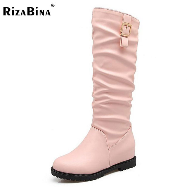 c985214856e RizaBina Size 34-43 Women Knee Snow Boots Flats Boots Inside Heel Thick Fur Shoes  Women Metal Long Warm Botas For Women Footwear