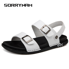 Summer Sandals Shoes Men Sandals Outdoor Non-slip Flat Rubber Soles Beach Men Shoes Roman Comfortable Sorrynam flat toe non slip roman beach sandals