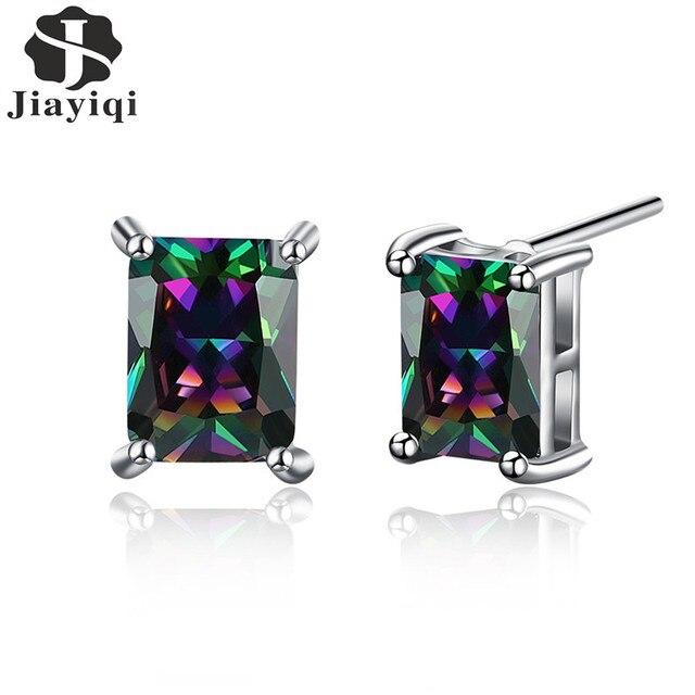 Rainbow Cubic Zirconia Stud Earrings