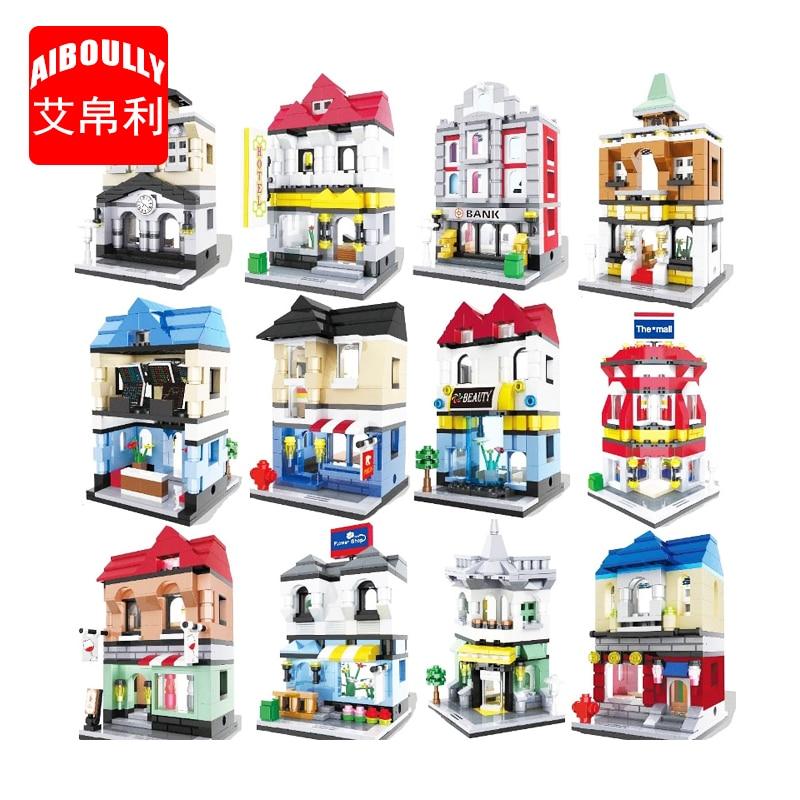 AIBOULL 6416 City Series Mini Street Model Store Shop Bank