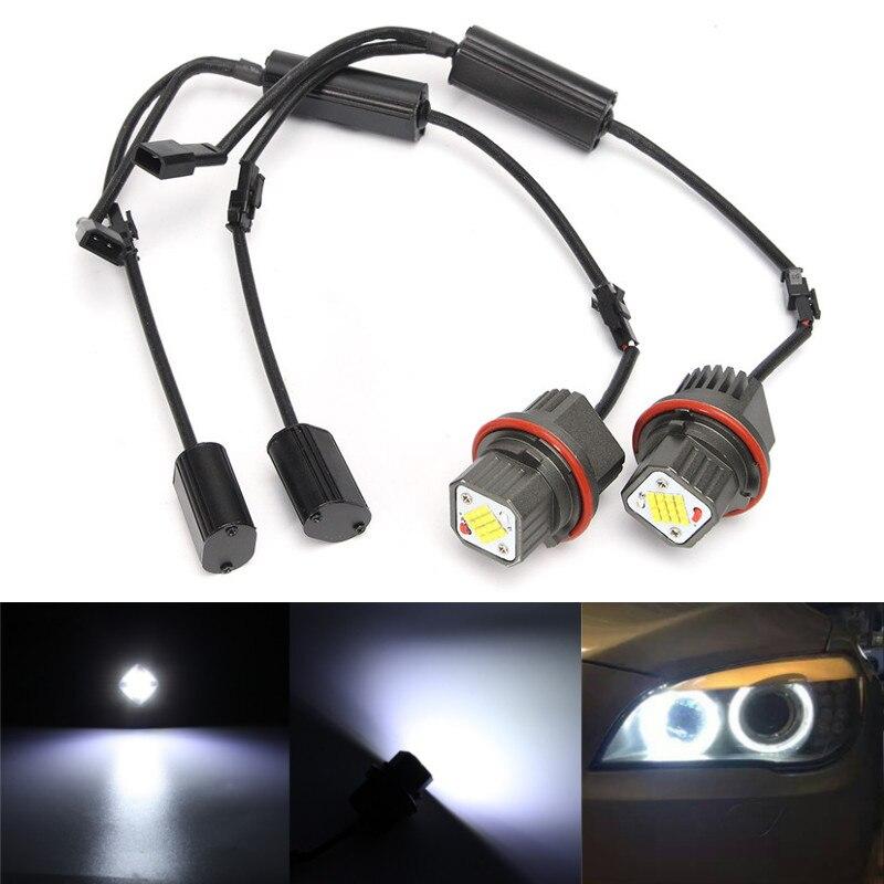 ФОТО 2pcs 2*80W 160W LED Angel Eyes Halo Ring Light Bulbs Error Free For BMW E39 E53 E83 E60 E65 Car Styling