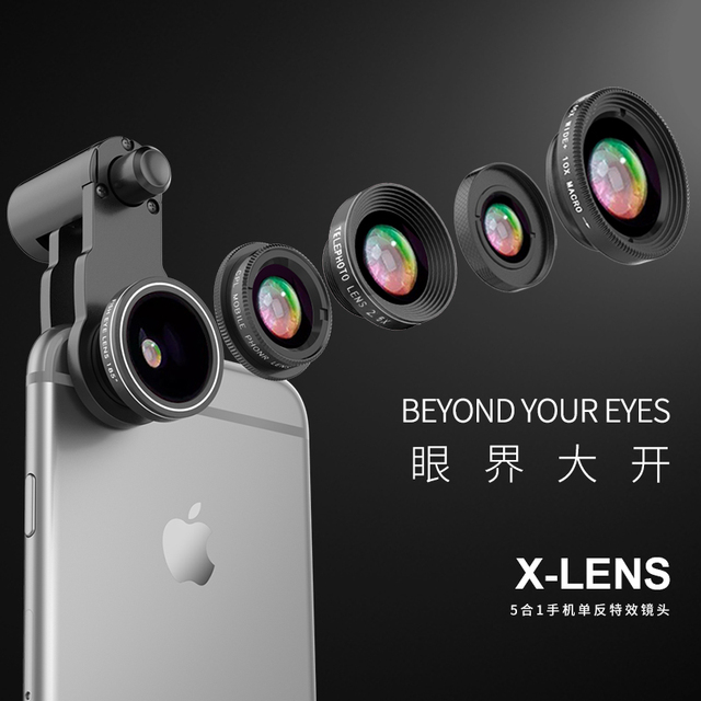 Fisheye Lens 5 in 1 mobile phone lenses fish eye +wide angle +macro camera lens for iphone 7 6s plus 5s/5 xiaomi huawei samsung