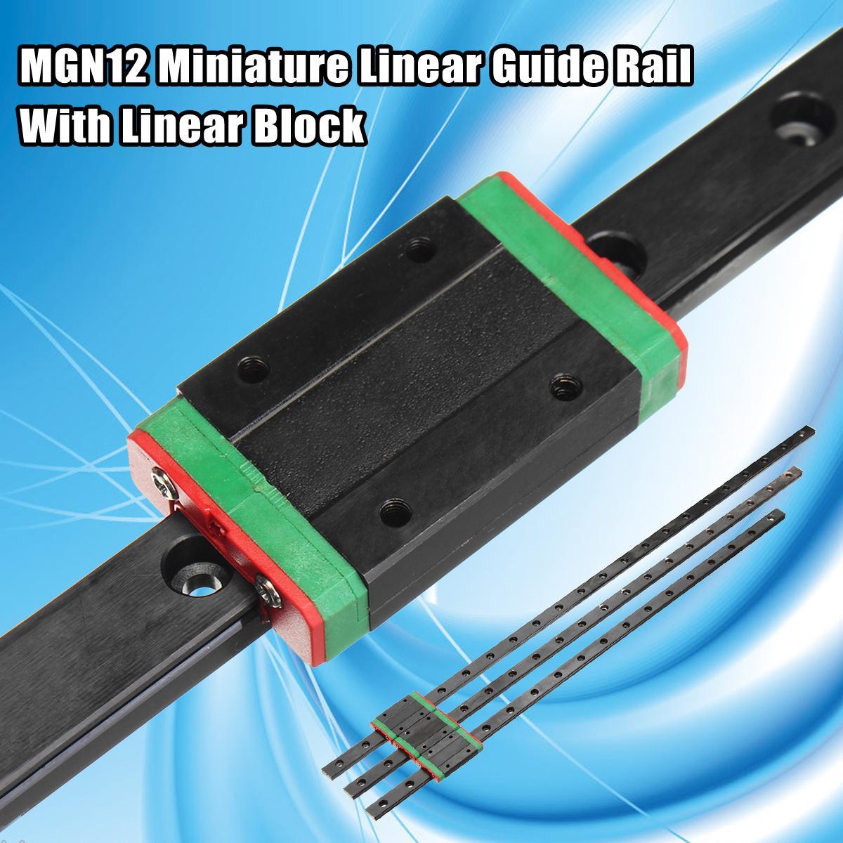 New High Quality 3D Printer Axis Parts Linear Rail Guide Slide MGN12 450mm/500mm/550mm + Mini MGN12H Linear Block Black roland sj 640 xj 640 l bearing rail block ssr15xw2ge 2560ly 21895161 printer parts