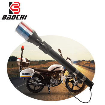 Motorcycle Rear Pole Lamp Police Siren Flash Light Warning Scooter Red with Blue Patrol Strobe LED Lamp for Vintage Cafe Racer