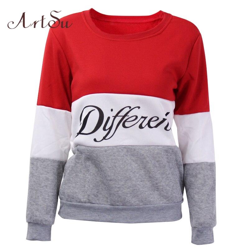 ArtSu 2017 Autumn and winter women fleeve hoodies printed letters tracksuit women s casual sweatshirt hoody