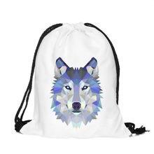 Polygon wolf 3D Printing Fashion Women Party Bolsa Feminina Drawstring Bag Travel Backpack Mochila Man's Bags