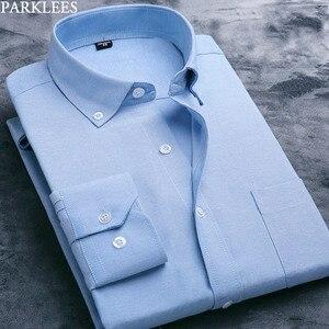Image 3 - Weiß Oxford Baumwolle Hemd Männer 2019 Marke Langarm Männlichen Taste Unten Kleid Shirts Solide Business Casual Slim Fit Arbeit camisa 4x