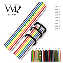 Rolamy 20 22 24mm Watch Band Belt Strap With Pin Buckle For Rolex Omega IWC Perlon Nylon Replacement Vintage Wrist New Style