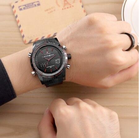 NAVIFORCE 9024 мужские спортивные часы модные роскошные мужские кварцевые брендовые аналоговые цифровые часы полностью стальные мужские наручны... - 6