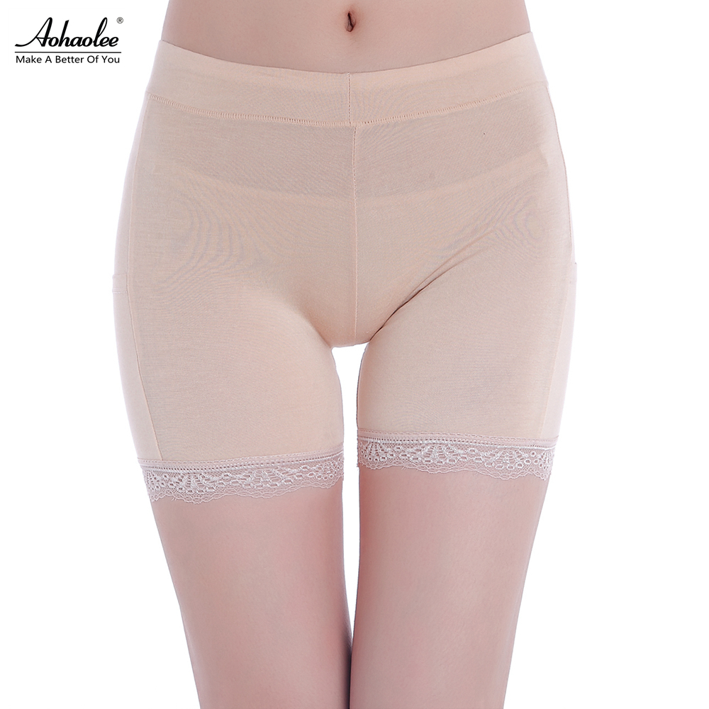 02ba0709fd6e Aohaolee Women's Lace Boyshorts Pants Silk Seamless Thong Underpants Safety  Pants Bottoming Female Safety Underwear Boxer Shorts
