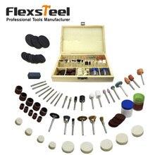 Flexsteel 100ピースマルチユニバーサルロータリーアクセサリー掘削ソーイングサンディング研削研磨パワーツールキット用ドレメル