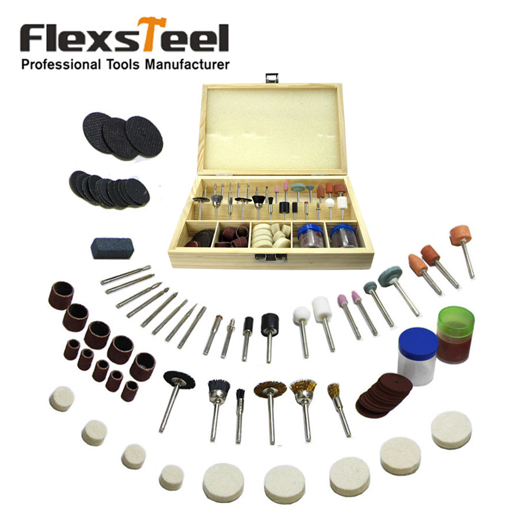 Flexsteel 100pcs Multitool Universal Rotary Accessory Drilling Sawing Sanding Grinding Polishing Power Tool Kit For Dremel