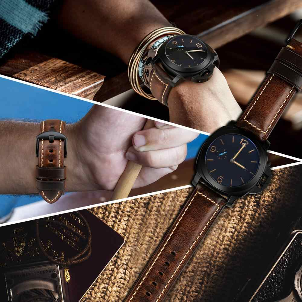 MAIKES อุปกรณ์เสริมนาฬิกานาฬิกา 18 มม.-26 มม.สีน้ำตาล VINTAGE น้ำมันขี้ผึ้งหนังนาฬิกาสำหรับ Samsung Gear S3 Fossil นาฬิกา