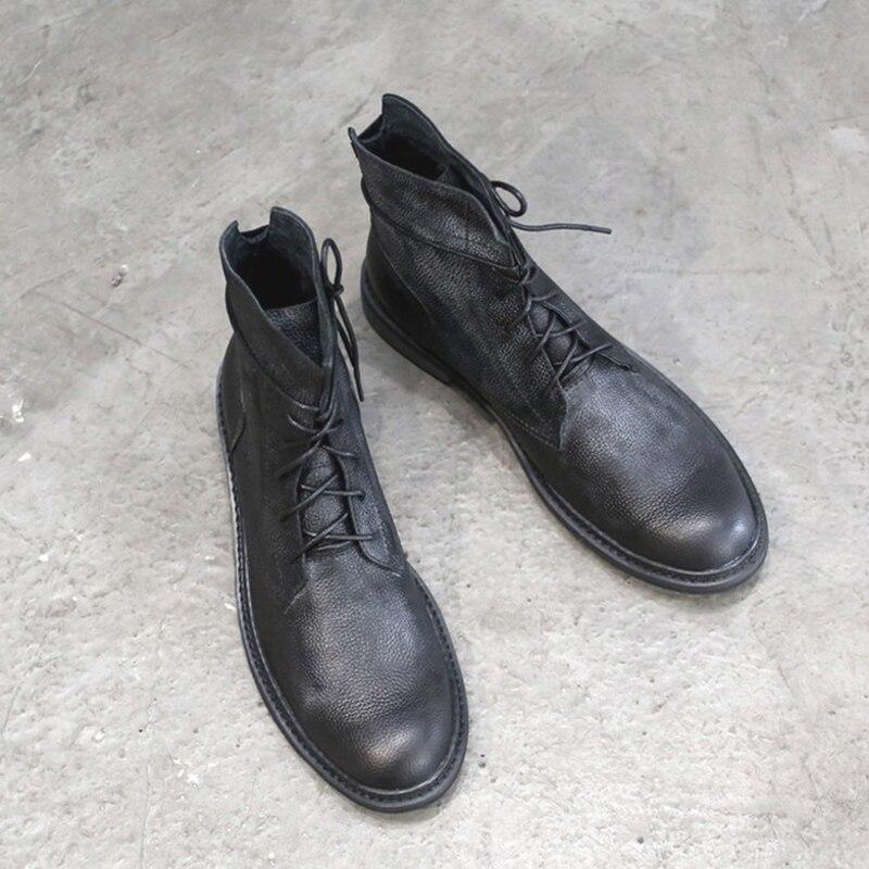 Bottes Black Pointu Marron Martin Eur De Taille Homme Lacets Bout Haut Vache En Décontractées Véritable Noir 38 Chaussures À 43 Cuir Own8P0k