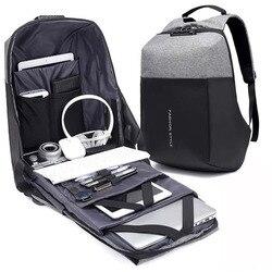 HHYUKIMI New Arrival TSA Lock Design Anti-thief USB Recharging Laptop Backpack Men Travel Waterproof Fashion Backpack