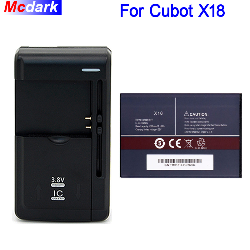 1 los = 1 stück Batterie + Universal Ladegerät 3200 mah Lange Zeit Standy Batterie Für Cubot X18 Batterie Akkumulator AKKU AKKU PIL Telefon
