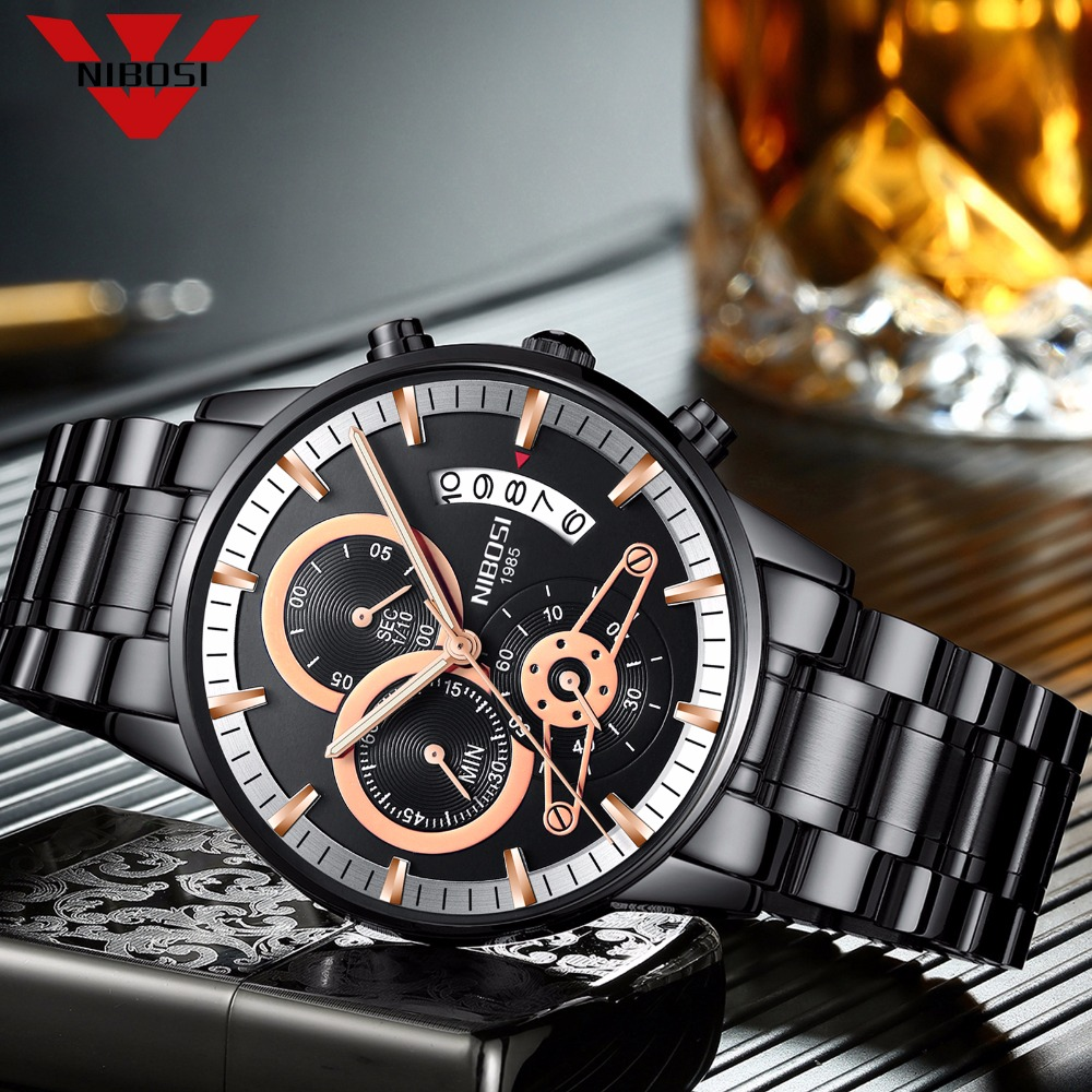 NIBOSI Mens Watches Top Luxury Brand Men Gold Watch Men Relogio Masculino Military Army Analog Quartz Wristwatch Montre Homme