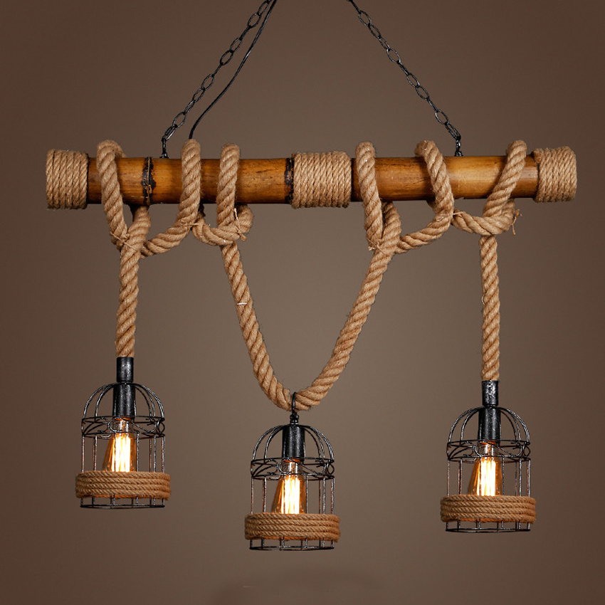 Countryside Vintage Pendant Light loft Hemp Rope Bamboo Iron Cage hanging lamp Hand Knitted Lighting Fixture