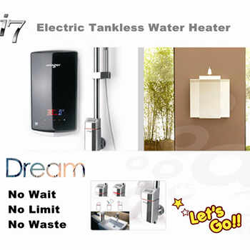 tankless electric instantaneous water heater for bathroom hot shower with constant temperature and LED digital user interface