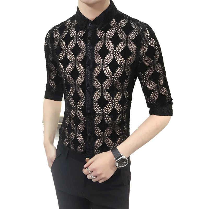 2018 Mens Transparent Shirts Mens Lace Shirts Sexy Mens Outfits See Through Shirts Club Black White Mesh Camisa Slim Fit Tight ...