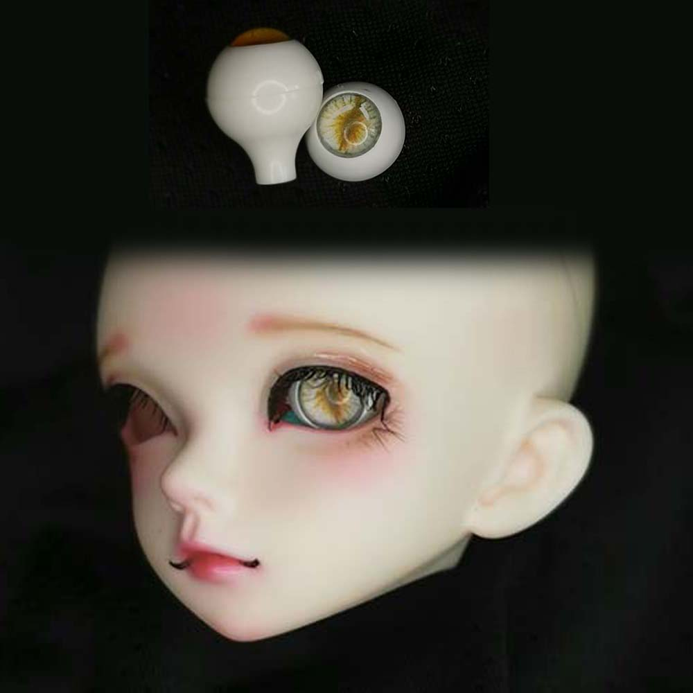 10mm Hand Made BJD Doll Eyes Pearlized Yellow Acrylic Half Ball