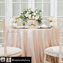 50 Round Champagne Sequin Tablecloth For Wedding Party Round Sequin Table  Cloth(China)