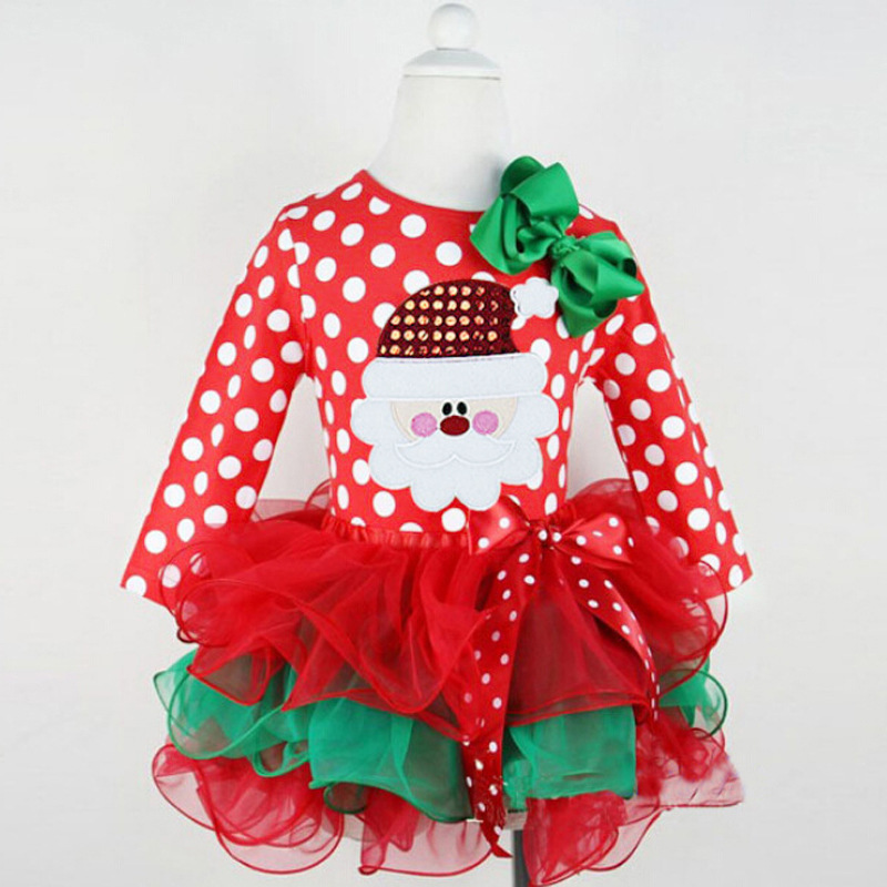 Christmas Outfits Baby Girls Clothes Mesh Kids tutu Princess Dresses Children Costume Xmas Party Santa Design Infant Dress A042 недорого