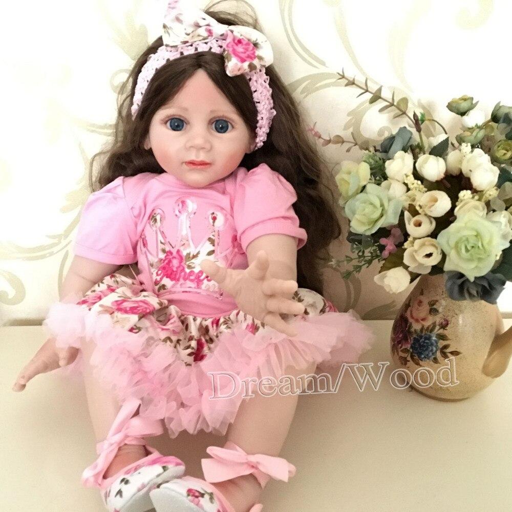 New Arrival 60cm Lovely Little Girl Soft Silicone Reborn Fridolin Doll Rooted Hair Lifelike Reborn Girl