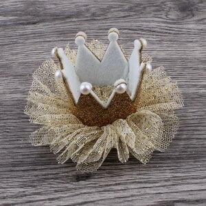 Image 5 - 30 teile/los 5 farben Newborn 3D Filz Kinder Crown + Mesh Blume Für Mädchen Haarschmuck Glitter Fühlte Krone Für ersten Geburtstag Hut
