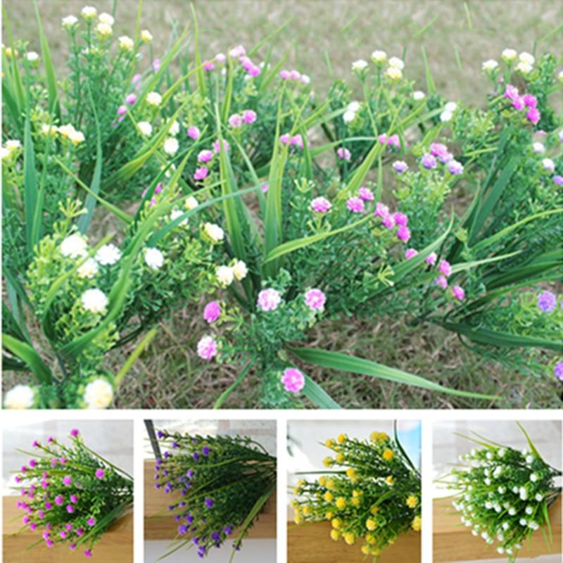 fashion home office desk party wedding decoration 1 bouquet 28cm floral artificial plants flowers gypsophila leaf grass artificial plants for office decor