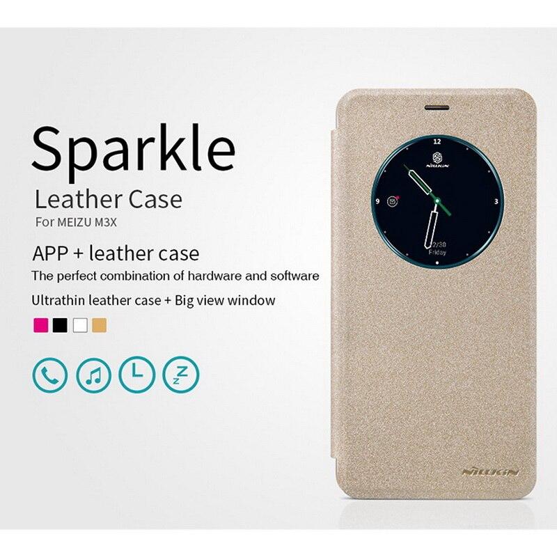 "For meizu m3x case Flip Smart Answer Window View Leather Case for Meizu M3X 5.5"" Original NILLKIN Sparkle series Fashion Cover"