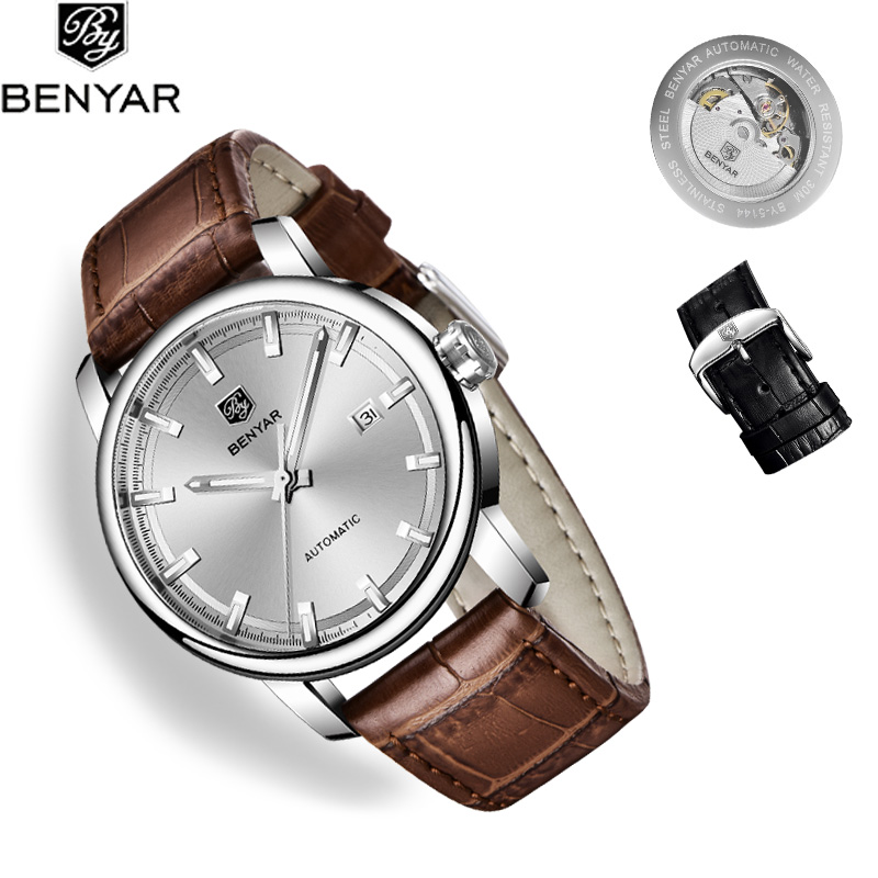BENYAR 2019 New Men's Watches Top Brand Luxury Automatic Watch Men Leather Watch Mechanical Wristwatch Mens Relogio Masculino
