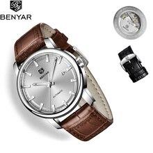 BENYAR 2019 New Mens Watches Top Brand Luxury Automatic Watch Men Leather Mechanical Wristwatch Relogio Masculino