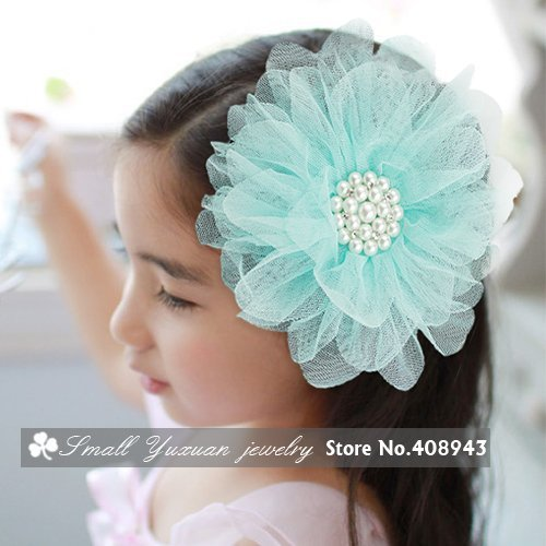 Fashion woman children hair accessories Girls baby hairpin Pearl Tulle Flower Hair clips Bridal Party Head flowers/brooch!J-1876