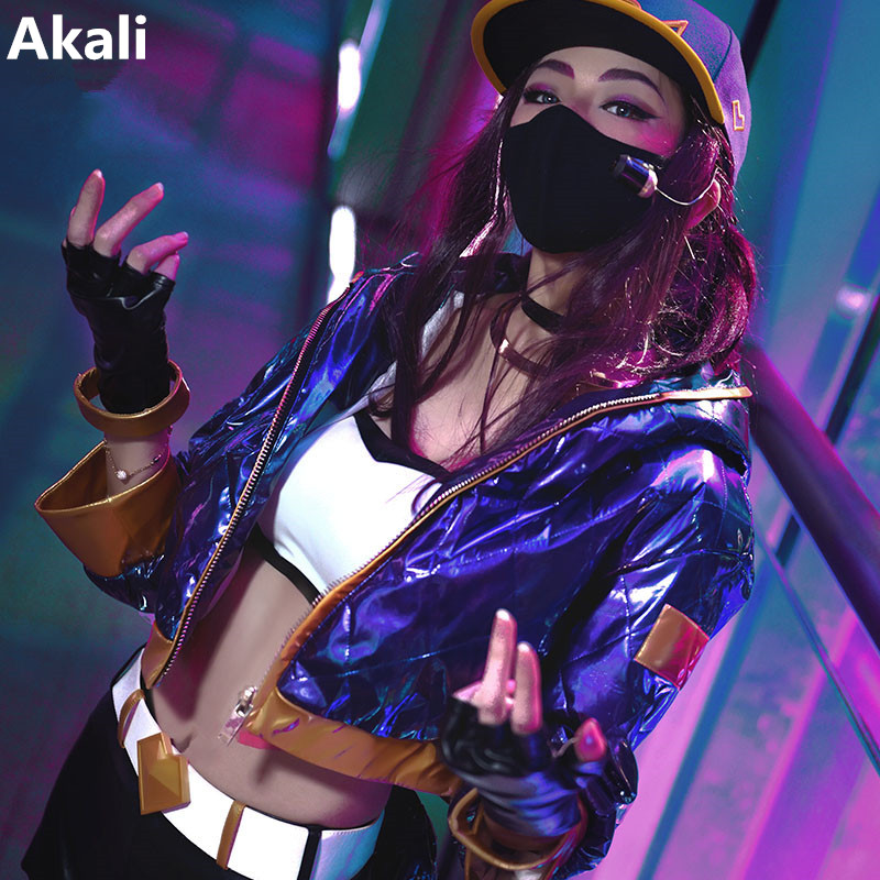 Anime! Hot Game LOL KDA Akali Sexy Bodysuit Uniform