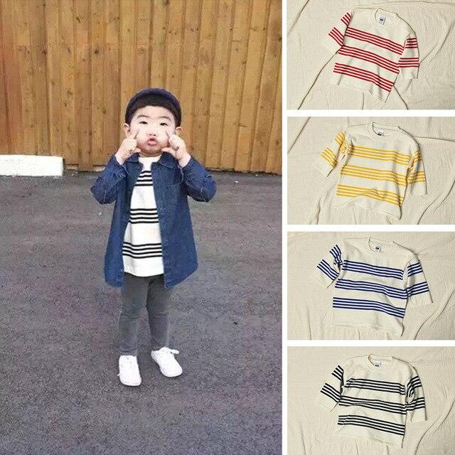 Новая коллекция весна осень детские свитера дети радуги полоса свитер трикотажные хлопок пуловер детские мальчики девочки случайные спортивная