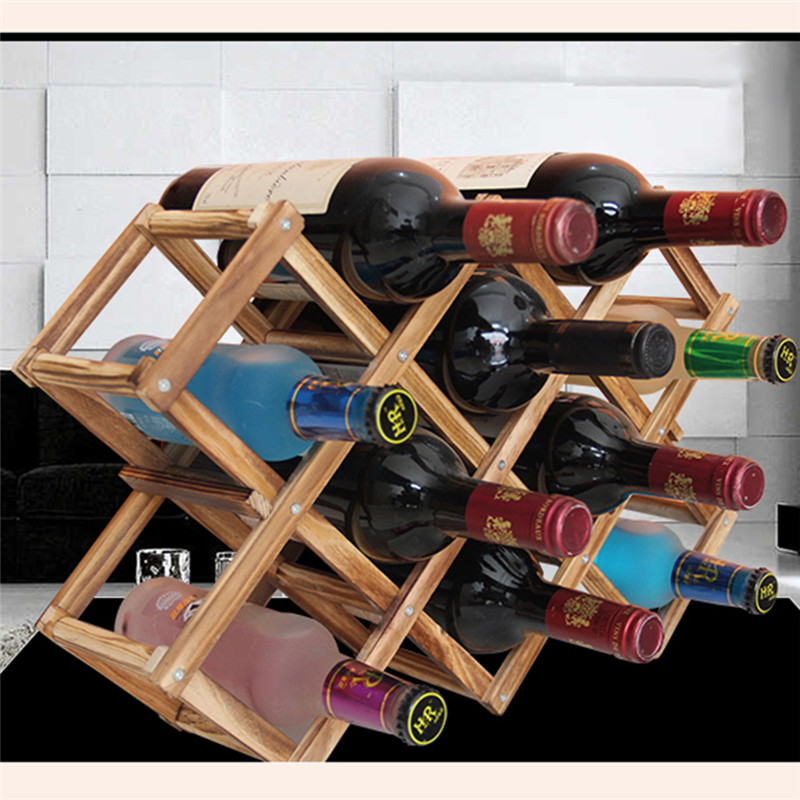 Classical Wooden Red Wine Rack Beer Foldable 10 Bottle Holder Kitchen Bar Display Shelf Organizer Home Table Decor image