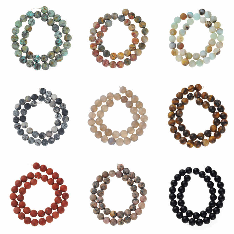Black Matt Onyx Agates Lapis Tiger Eye Amazonite Natural Stone Beads For Jewelry Making Diy Bracelet 4 6 8 10MM Drop Shipping