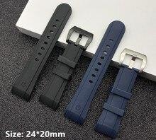 Correa de reloj de goma de silicona negra y azul, hebilla de 24mm x 20mm para correa de Graham, banda de reloj curvada de la serie Racing, pulsera con logotipo