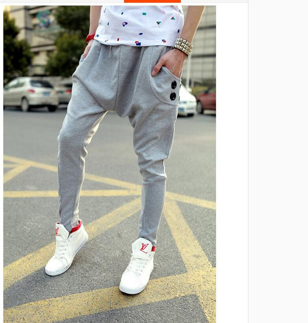 Mens Joggers fashion harem pants baggy joggers pants sweatpants calca saruel masculina