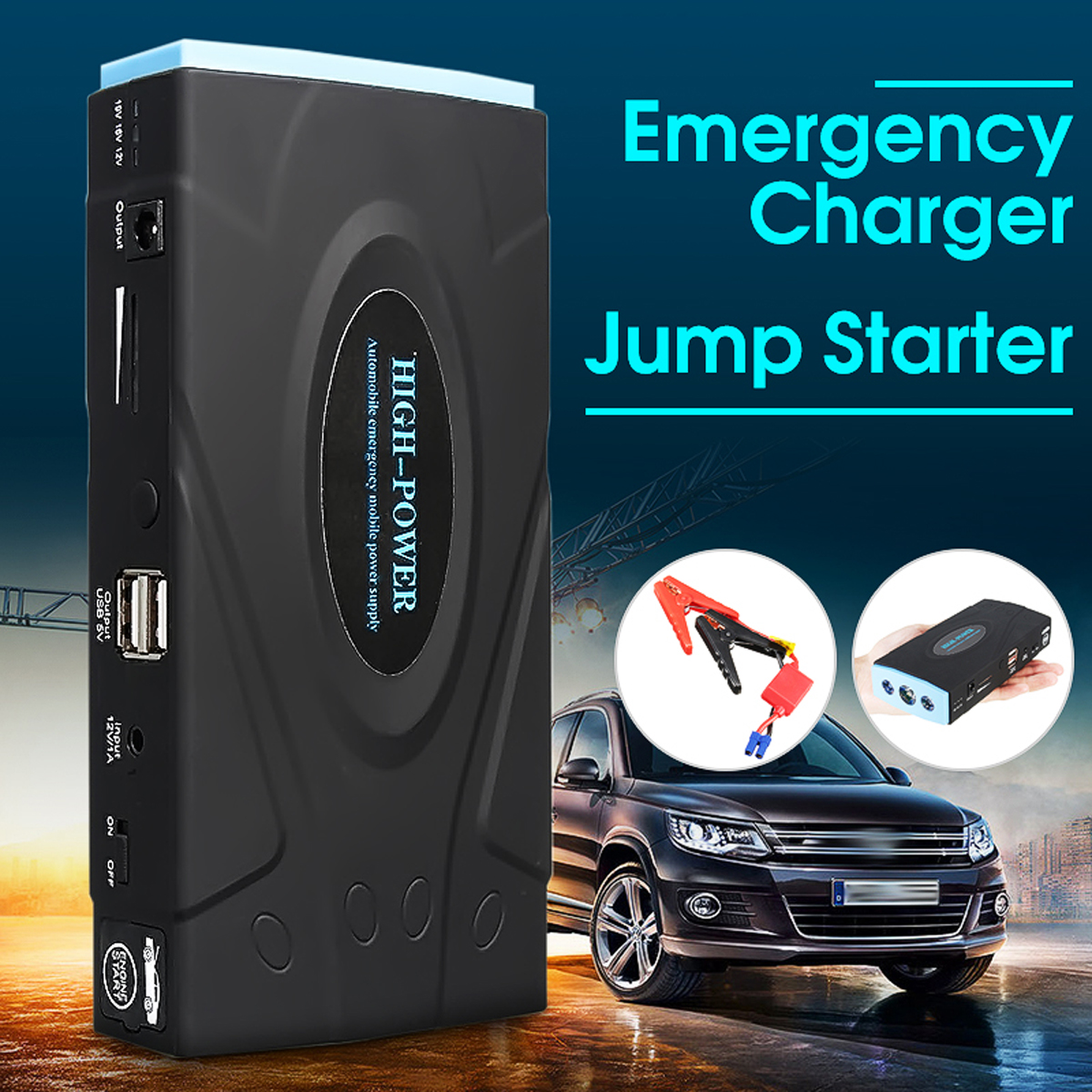 12000mAh 12V Car Portable Jump Starter Emergency Power Supply Power Bank Battery Charger стоимость