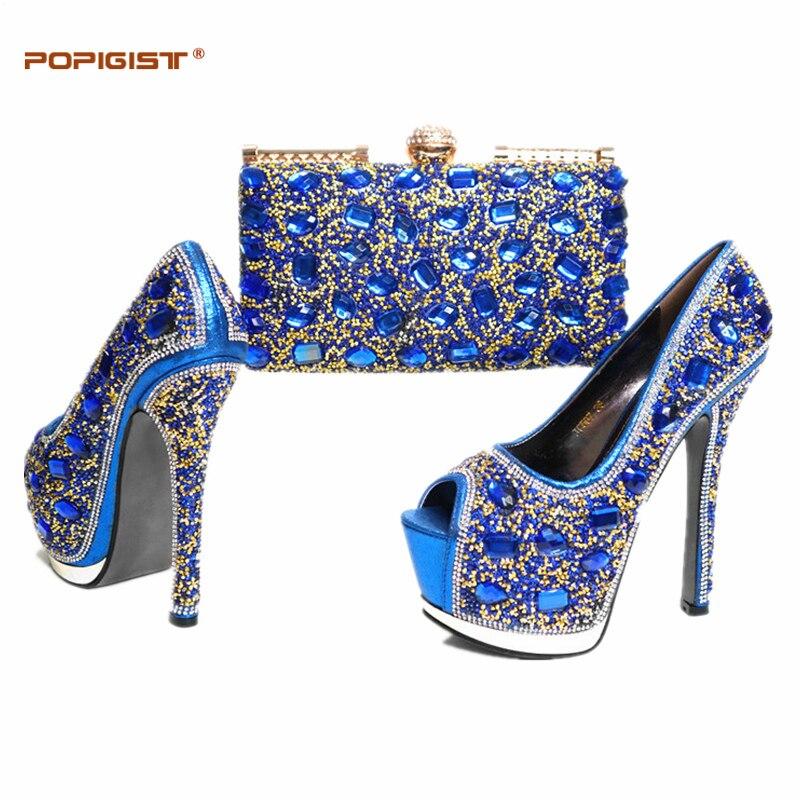 Décoré gold Color Avec Blue Nouvelle Et Chaussures Royal Femmes Africaine Arrivée Strass purple De Ensemble red Couleur Nigérian Sac Ensembles Multi multi Mariage w7fRUq
